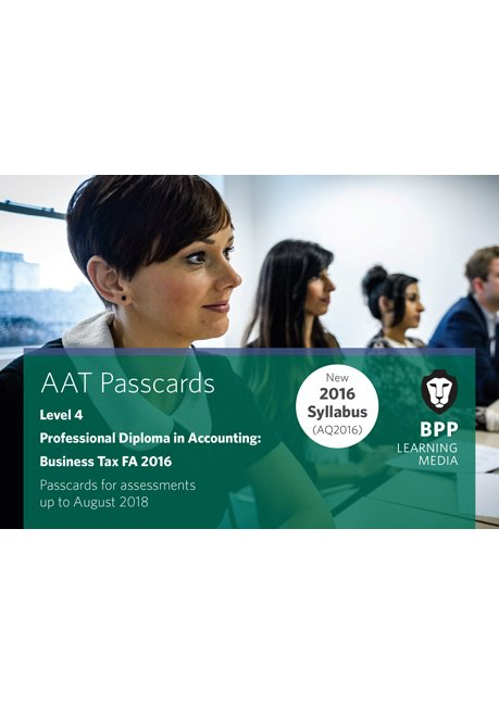 AAT Optional Business Tax FA2016 Level 4 Passcards